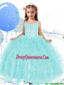Elegant Straps Beading and Ruffles Little Girl Pageant Dress in Apple Green