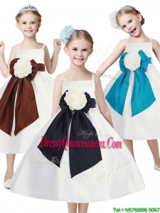 Fashionable Spaghetti Straps Little Girl Pageant Dress with Hand Made Flowers and Sashes