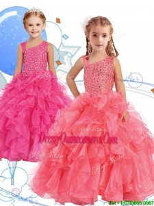 Perfect Beaded and Ruffled Asymmetrical Neckline Little Girl Pageant Dress in Watermelon Red