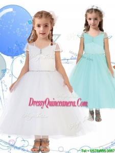 See Through Square Cap Sleeves Little Girl Pageant Dress with Beading