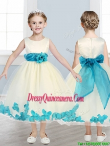 Lovely Scoop Mini Quinceanera Dress with Teal Hand Made Flowers