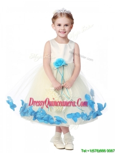 Lovely Tea Length Scoop Mini Quinceanera Dress with Hand Made Flowers and Appliques