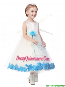 Perfect Scoop Mini Quinceanera Dress with Aqua Blue Hand Made Flowers