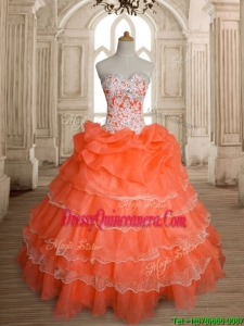 Exquisite Orange Red Big Puffy Quinceanera Dress with Ruffled Layers and Beading