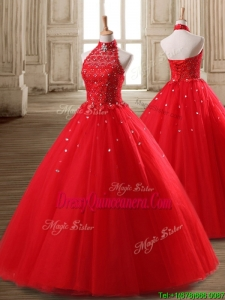 Fashionable Halter Top Beaded Tulle Quinceanera Dress in Red