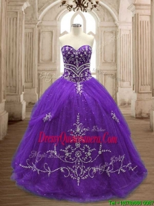 Hot Sale Brush Train Purple Quinceanera Dress with Appliques