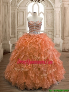 Exquisite Rust Red Organza Quinceanera Dress with Beading and Ruffles