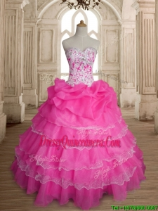 Inexpensive Hot Pink Organza Quinceanera Dress with Ruffled Layers and Beading