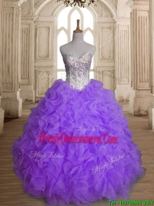 Fashionable Big Puffy Beading and Ruffles Quinceanera Dress in Purple