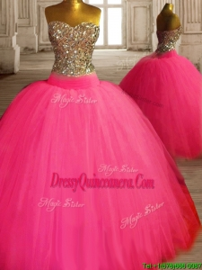 Gorgeous Beaded Bodice Tulle Sweet 16 Dress in Hot Pink