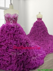 Gorgeous Rolling Flowers Court Train Quinceanera Gown with Beading