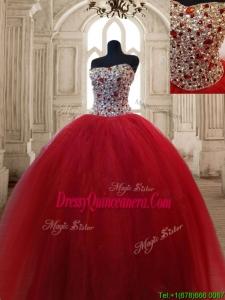 Hot Sale Beaded Bodice Sweet 16 Dress in Wine Red
