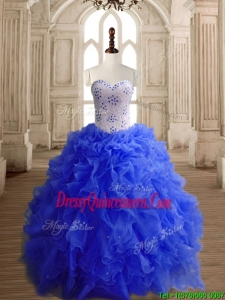 Low Price Beaded Bodice and Ruffled Royal Blue Quinceanera Dress in Organza
