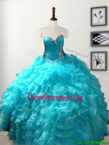 Low Price Beaded and Ruffled Organza Quinceanera Gown in Baby Blue
