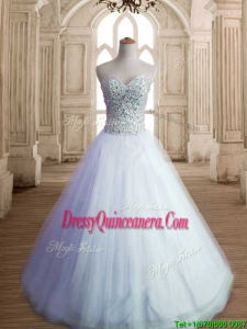 Most Popular White Tulle Sweet 16 Dress with Beading