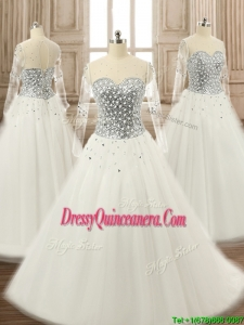 See Through Scoop Long Sleeves White Quinceanera Dress with Beading