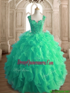 Affordable Beaded and Ruffled Straps Quinceanera Dress in Spring Green
