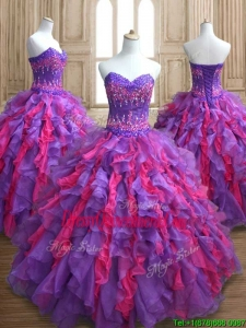 Cheap Applique and Ruffled Quinceanera Dress in Purple and Hot Pink