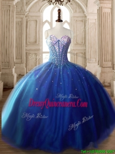 Discount Royal Blue Tulle Sweet 16 Dress with Beading