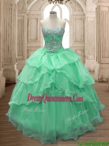 Gorgeous Big Puffy Sweet 16 Dress with Beading and Ruffled Layers