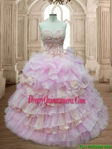 Lovely Organza Sweet 16 Dress with Ruffled Layers and Appliques