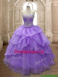 Pretty Big Puffy Ruffled Layers and Beading Sweet 16 Dress in Organza