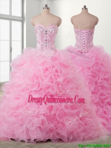 Lovely Baby Pink Detachable Quinceanera Dress with Beading and Ruffles
