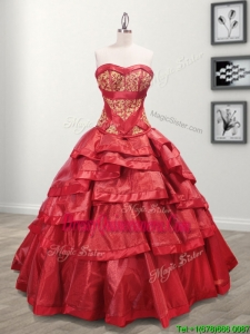 Most Popular Taffeta Red Quinceanera Dress with Appliques and Ruffled Layers