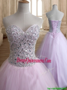 Discount Beaded Bodice Tulle Quinceanera Dress in Baby Pink
