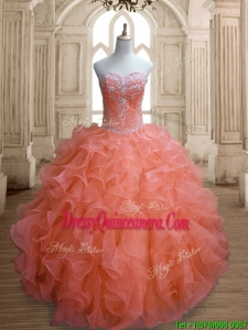 Elegant Orange Red Sweet 16 Dress with Beading and Ruffles
