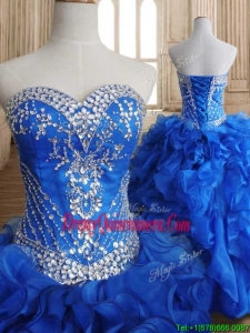 Romantic Beaded and Ruffled Royal Blue Sweet 16 Dress in Organza