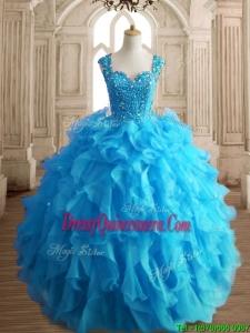 Cheap Straps Beading and Ruffles Quinceanera Dress in Aqua Blue