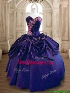 Popular Beaded and Ruffled Taffeta Sweet 16 Dress in Purple