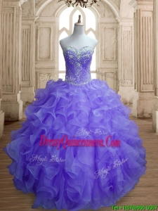 Romantic Organza Beading and Ruffles Quinceanera Dress in Lavender