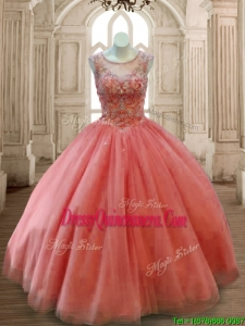 See Through Scoop Beading Quinceanera Dress in Rust Red