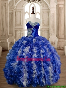 Gorgeous Beaded Bust and Ruffled Quinceanera Dress in Blue and White