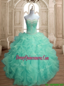 Inexpensive Beaded and Ruffled Big Puffy Quinceanera Dress in Apple Green