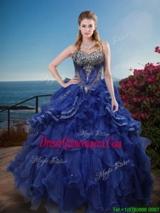 Best Classical Rhinestoned and Ruffled Sweet 16 Dress in Royal Blue