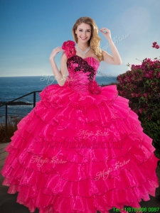 Fashionable One Shoulder Sweet 16 Gown with Ruffled Layers and Handmade Flowers