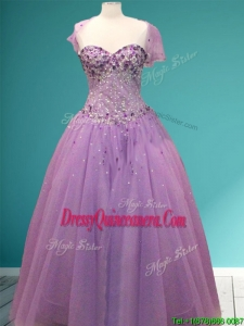 Beautiful Rhinestoned A Line Quinceanera Dress in Lavender