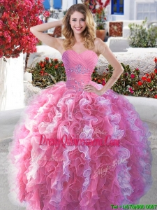 Best Rose Pink and White Quinceanera Dress with Beading and Ruffles