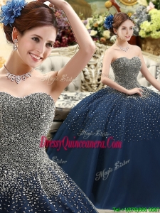 Classical Beaded Bodice Sweet 16 DQuinceanera ress in Navy Blue