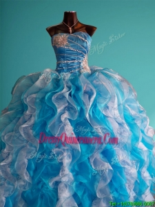 Discount Beaded and Ruffled Big Puffy Sweet 16 Dress in White and Blue