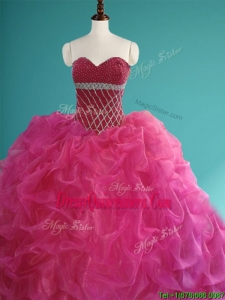 Gorgeous Beaded and Pick Ups Organza Quinceanera Dress in Fuchsia