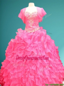 New Style Hot Pink Quinceanera Dress with Beading and Ruffles