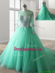 See Through Scoop Long Sleeves Beading Quinceanera Dress with Brush Train