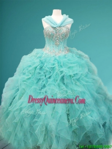 Visible Boning Beaded and Ruffled Quinceanera Dress in Apple Green