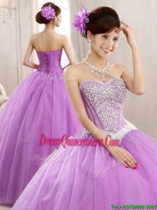 Hot Sale Lilac Really Puffy Tulle Quinceanera Dress with Beading