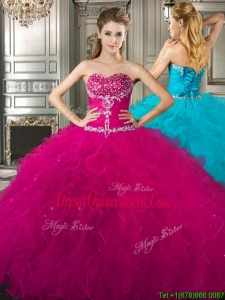 New Style Affordable Beaded and Ruffled Fuchsia Sweet 16 Dress in Tulle