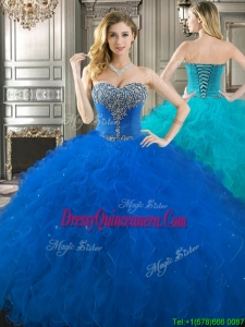 New Style Beaded Bodice and Ruffled Really Puffy Quinceanera Dress in Royal Blue